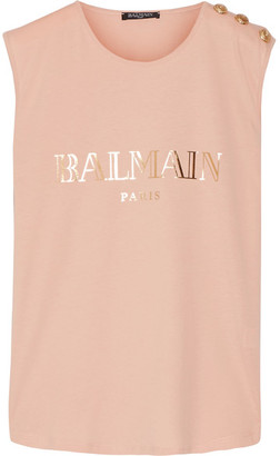 Balmain - Button-embellished Printed Cotton-jersey Top - Blush $265 thestylecure.com
