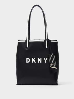 DKNY Jade Striped Leather Logo Tote
