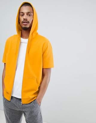 Asos Design DESIGN Zip Up Hoodie With Short Sleeves In Yellow