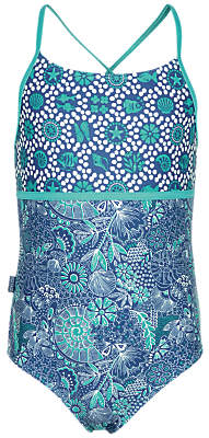 Fat Face Girls' Sea Sketch Swimsuit, Teal