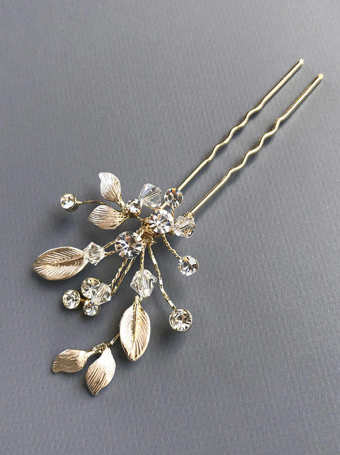 Etsy Crystal Floral Wedding Hairpin, Gold Floral Bridal Hair Accessory, Rhinestone Floral Hair Piece, Cry