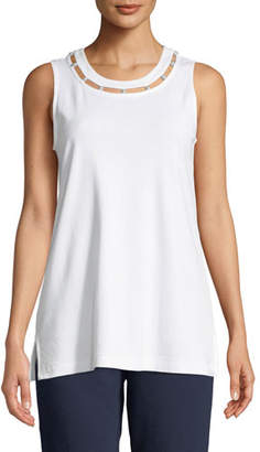 Joan Vass Scoop-Neck Cotton Interlock Tank with Pearly Inset