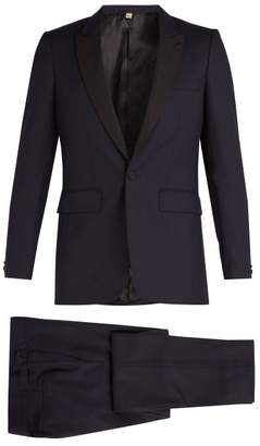 Burberry Contrast Lapel Single Breasted Wool Tuxedo - Mens - Navy