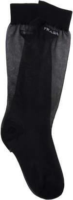 Prada Logo-Embroidered Mesh Knee Socks