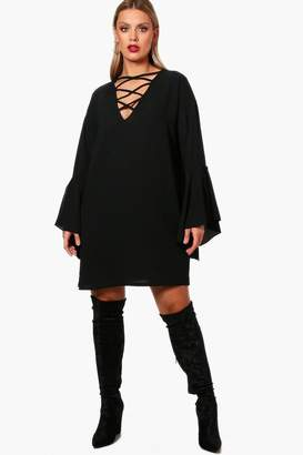 boohoo Plus Lace Up Front Flare Sleeve Dress