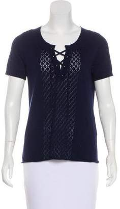 Frame Short Sleeve Lace-Up Top w/ Tags