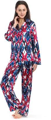 Jones New York Women's Long Sleeve Satin Pajamas (Ikat Print
