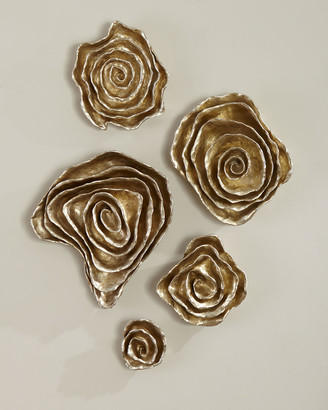 Jamie Young Freeform Floral Wall Plaques - Champagne Finish, Set of 5