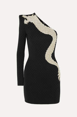 Balmain One-sleeve Crystal-embellished Stretch-jersey Mini Dress - Black
