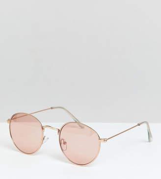 Asos Design DESIGN metal round sunglasses in rose gold with pink mirror lens