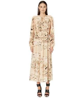 RED Valentino Oiseaux Romantiques Print Silk Crepe De Chine Dress