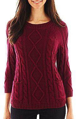 Liz Claiborne 3/4-Sleeve Cable Knit Sweater