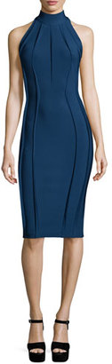Thierry Mugler Sleeveless Turtleneck Sheath Dress, Ocean Blue $1,900 thestylecure.com