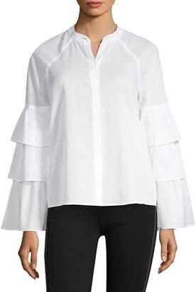 BCBGMAXAZRIA Women's Tiered Ruffle Sleeve Blouse