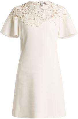 Giambattista Valli Macramé-trimmed fluted-sleeves crepe dress