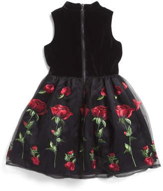 Big Girls Stretch Velvet Floral Embroidered Dress