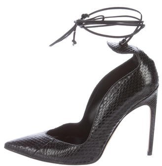 Brian Atwood Snakeskin Pointed-Toe Pumps $125 thestylecure.com