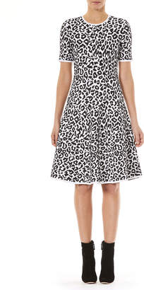 Carolina Herrera Crewneck Short-Sleeve Leopard-Jacquard Knit Fit-and-Flare Dress