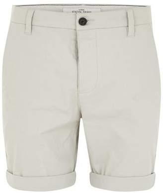 Topman Mens Grey Light Gray Stretch Skinny Chino Shorts