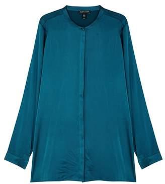 Eileen Fisher Teal Silk Charmeuse Shirt