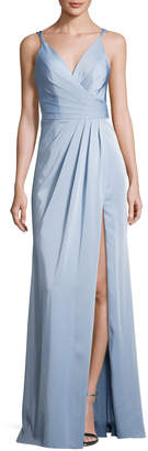 Faviana Sleeveless Ruched Stretch Faille Gown, Blue