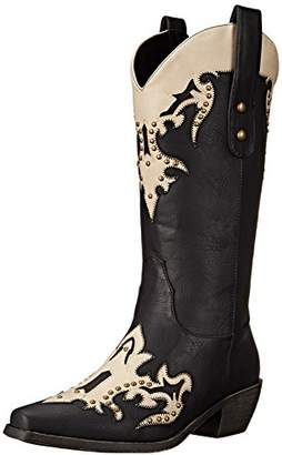 "AdTec Women's 13"" Western Pull On Studs Black/Offwhite-W Boot"