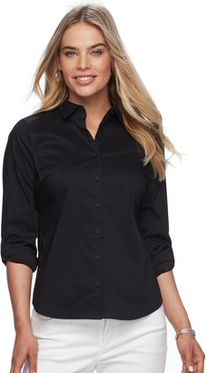 Apt. 9 Petite Poplin Structured Essential Button-Down Shirt