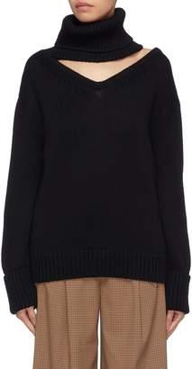 Monse Cutout yoke one-shoulder wool turtleneck sweater