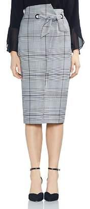Vince Camuto High-Waist Glen-Plaid Midi Skirt