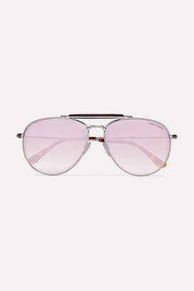 Tom Ford Aviator-style Silver-tone And Tortoiseshell Acetate Mirrored Sunglasses - Pink