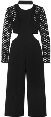Self-Portrait - Guipure Lace-paneled Cutout Crepe Jumpsuit - Black $510 thestylecure.com
