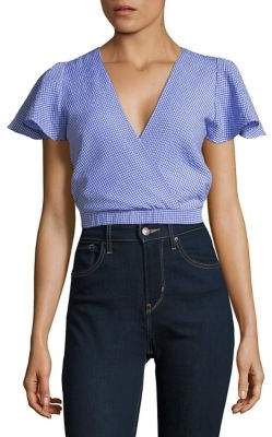 Design Lab Gingham Cropped Blouse