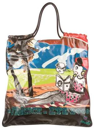 Lanvin Leather-Trimmed Printed Tote