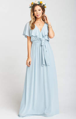 Show Me Your Mumu Audrey Maxi Dress ~ Steel Blue Chiffon
