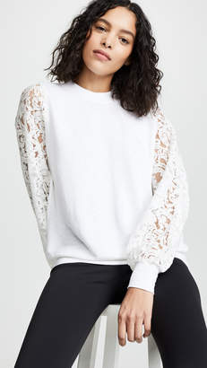 Clu Mixed Media Sweatshirt with Lace Sleeves