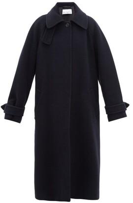 Raey Oversized Raglan Sleeve Wool Blend Coat - Womens - Navy