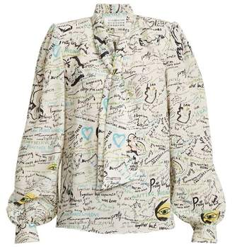 Maison Margiela Scribble Print Tie Neck Silk Blouse - Womens - Multi