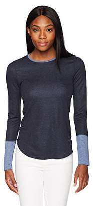 Three Dots Women's Reversible Colorblock Tight Long Shirt