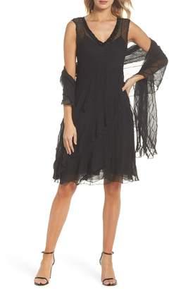 Komarov Bead Trim Chiffon Dress with Wrap