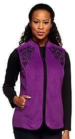 Susan Graver Fleece Vest w/ Front Zipper andContrast Emb.