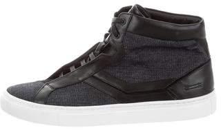 Uri Minkoff Leather-Trimmed Denim Sneakers