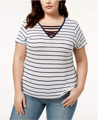 Abasix Trendy Plus Size Ladder-Front T-Shirt
