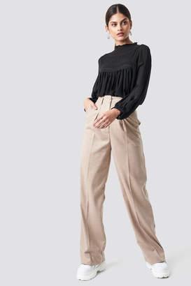 MANGO Paper Trousers Beige