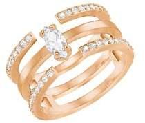Swarovski Gray Rose-Goldplated Multi-Band Ring