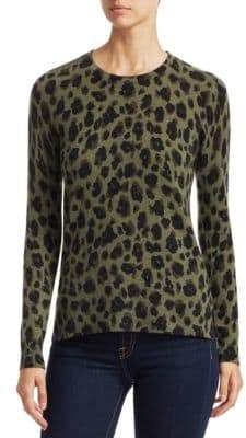Saks Fifth Avenue COLLECTION Animal Print Crewneck Cashmere Sweater