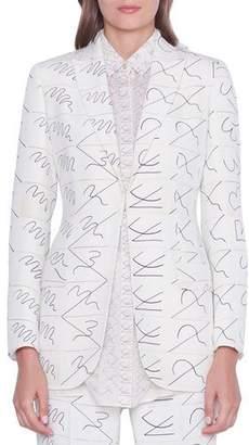Akris Amarina Leporello Print Long Silk Jacket