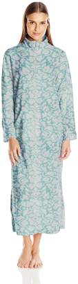 Miss Elaine Women's Brushed Back Terry Long Zip Robe-Print