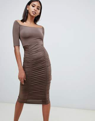 PrettyLittleThing slinky bardot ruched detail midi dress in chocolate