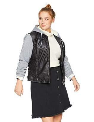 2f4cc200671 Yoki Women s Plus Size Faux Leather Jacket with Fleece Sleeves and Hood ·  Amazon.com ...