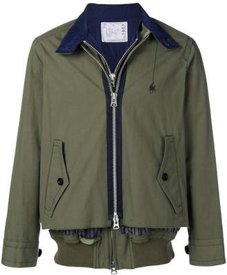 Sacai spider embroidered zipped jacket